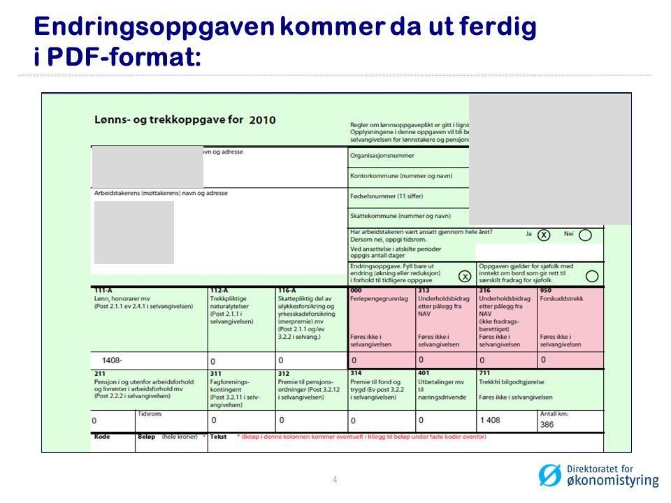 Endringsoppgaven kommer da ut ferdig i PDF-format: