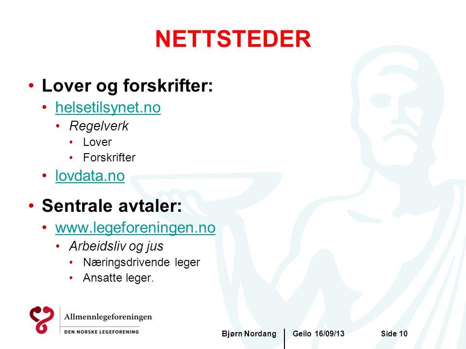 NETTSTEDER Lover og forskrifter: Sentrale avtaler: helsetilsynet.no