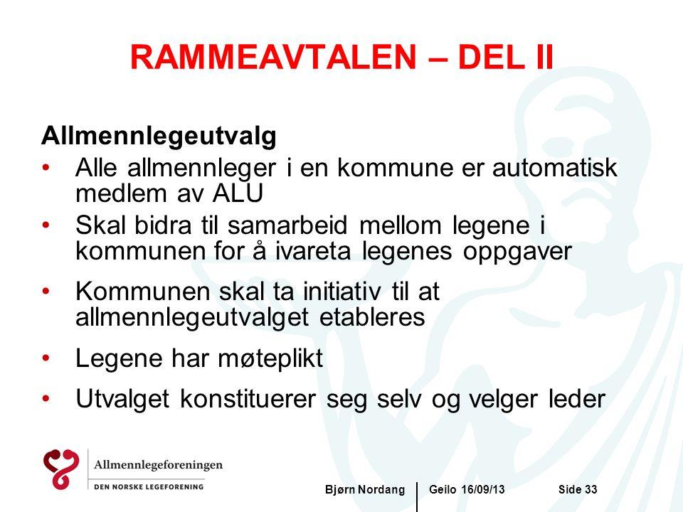 RAMMEAVTALEN – DEL II Allmennlegeutvalg