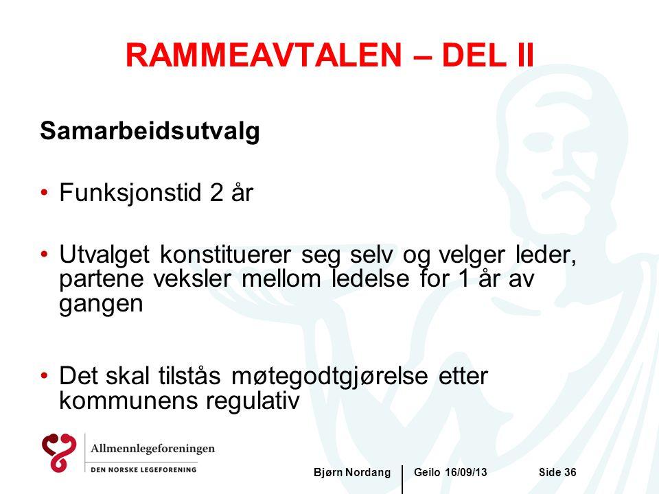 RAMMEAVTALEN – DEL II Samarbeidsutvalg Funksjonstid 2 år