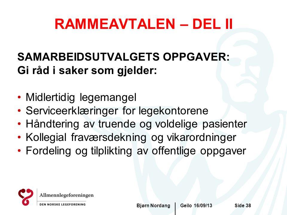 RAMMEAVTALEN – DEL II SAMARBEIDSUTVALGETS OPPGAVER:
