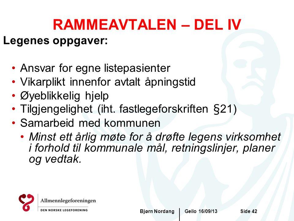 RAMMEAVTALEN – DEL IV Legenes oppgaver: Ansvar for egne listepasienter