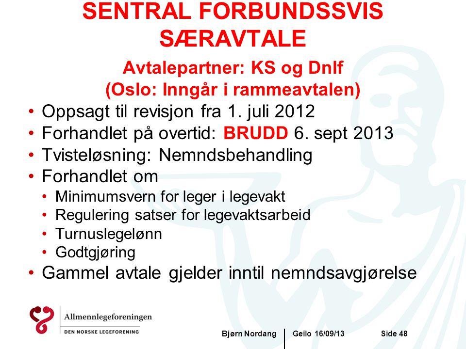 SENTRAL FORBUNDSSVIS SÆRAVTALE