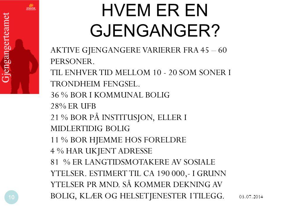 HVEM ER EN GJENGANGER AKTIVE GJENGANGERE VARIERER FRA 45 – 60 PERSONER. TIL ENHVER TID MELLOM 10 - 20 SOM SONER I TRONDHEIM FENGSEL.