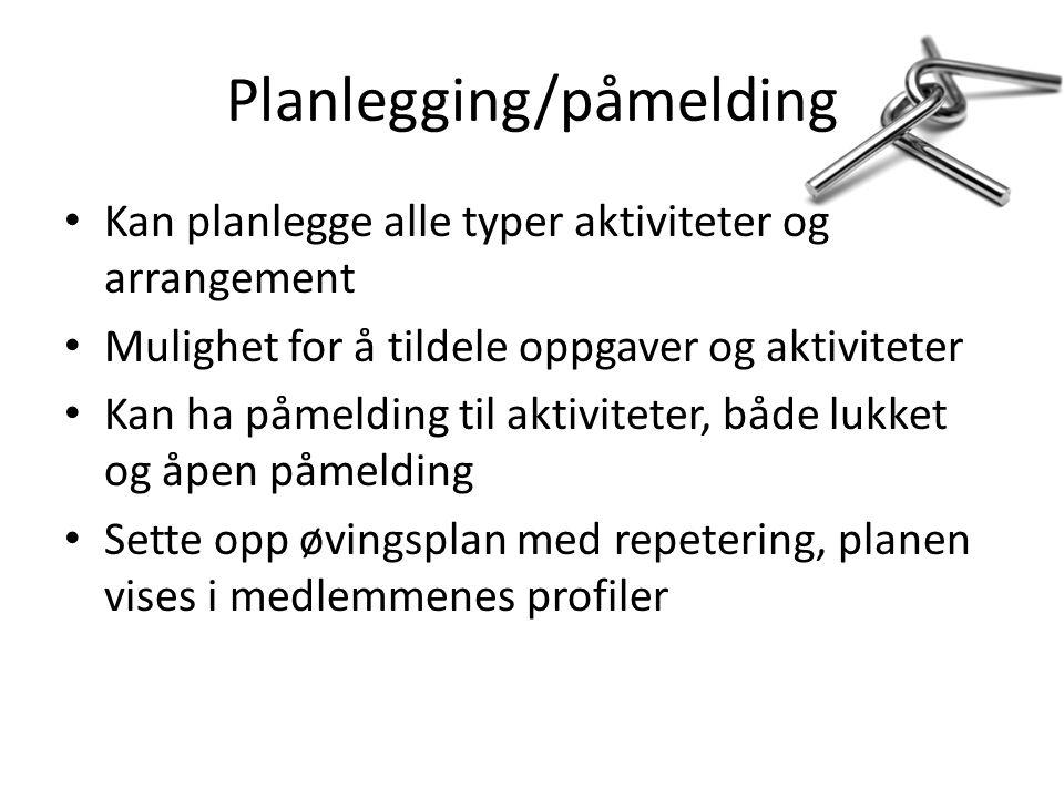 Planlegging/påmelding