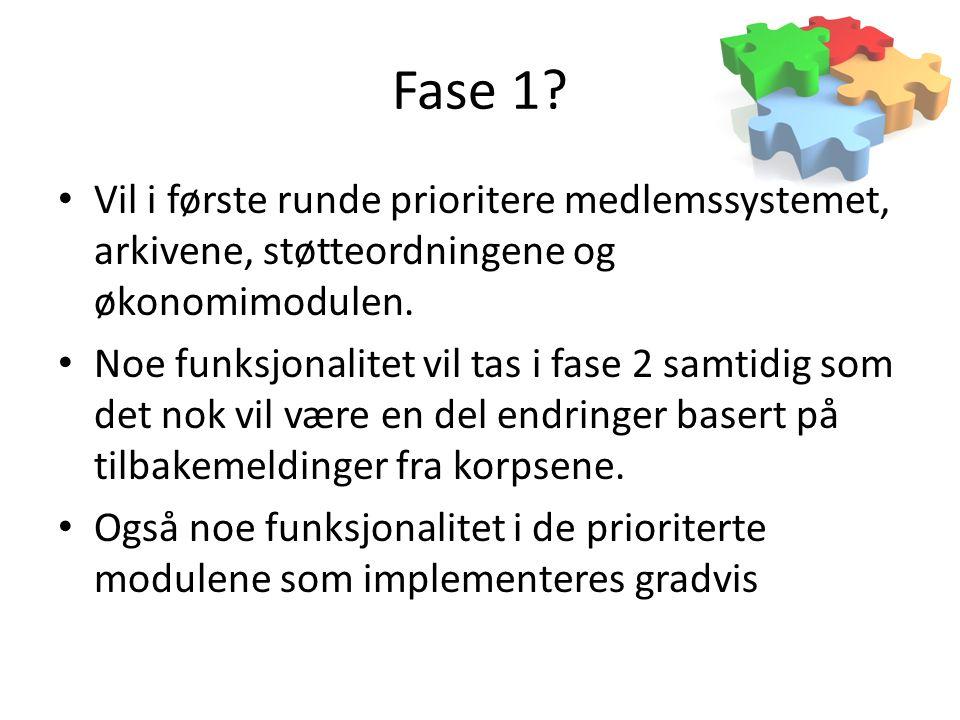 Fase 1 Vil i første runde prioritere medlemssystemet, arkivene, støtteordningene og økonomimodulen.
