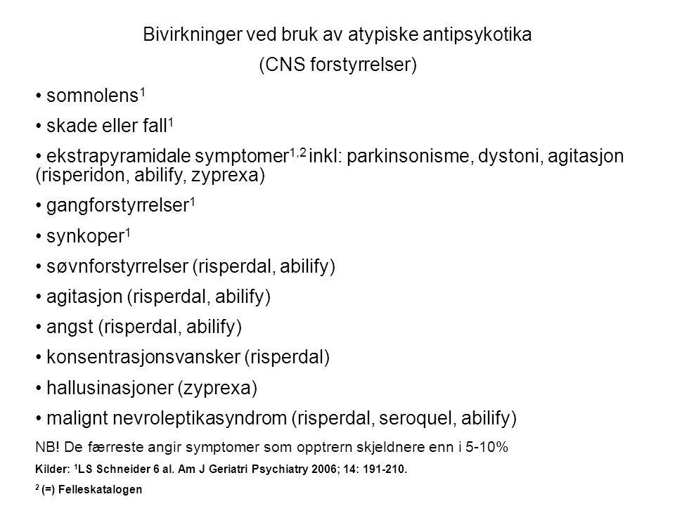 Bivirkninger ved bruk av atypiske antipsykotika