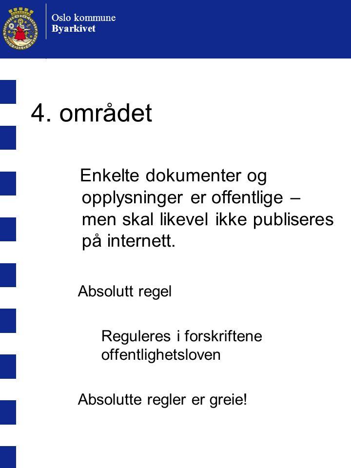 4. området Enkelte dokumenter og opplysninger er offentlige – men skal likevel ikke publiseres på internett.