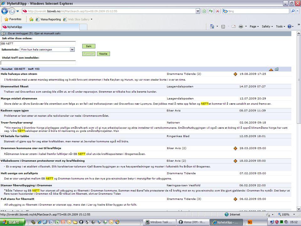 BizNewsknappen bruker firmanavnet og søker opp alle treff i norske nettaviser.