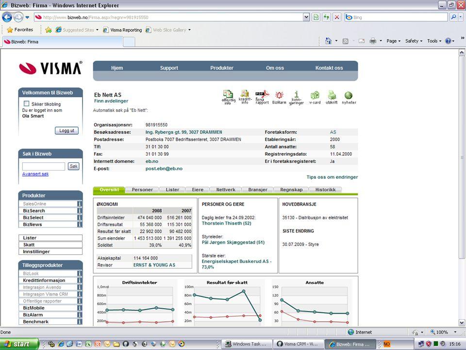 På en enkel og oversiktlig måte, viser den oppdatert informasjon om blant annet selskapets regnskap, adresser og kontaktpersoner.