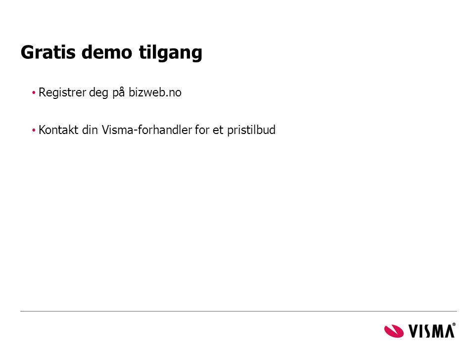 Gratis demo tilgang Registrer deg på bizweb.no