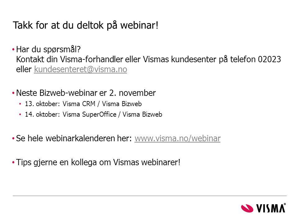 Takk for at du deltok på webinar!
