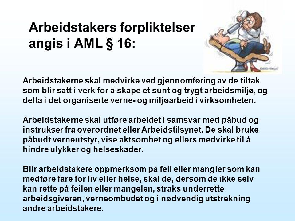 Arbeidstakers forpliktelser angis i AML § 16: