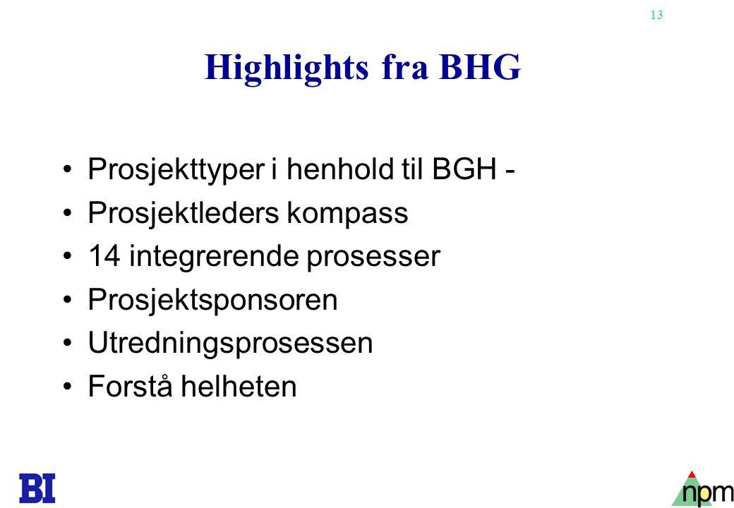 Highlights fra BHG Prosjekttyper i henhold til BGH -
