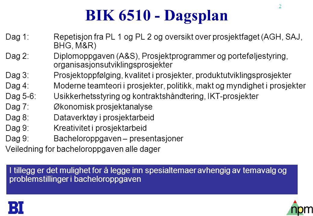 BIK 6510 - Dagsplan Dag 1: Repetisjon fra PL 1 og PL 2 og oversikt over prosjektfaget (AGH, SAJ, BHG, M&R)