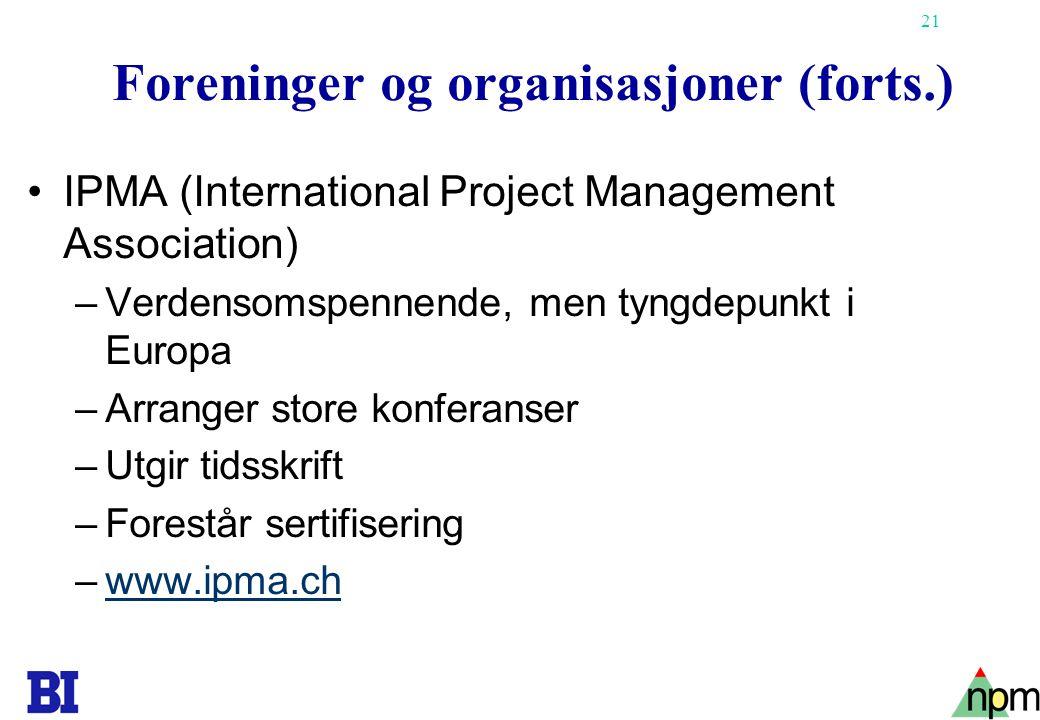 Foreninger og organisasjoner (forts.)