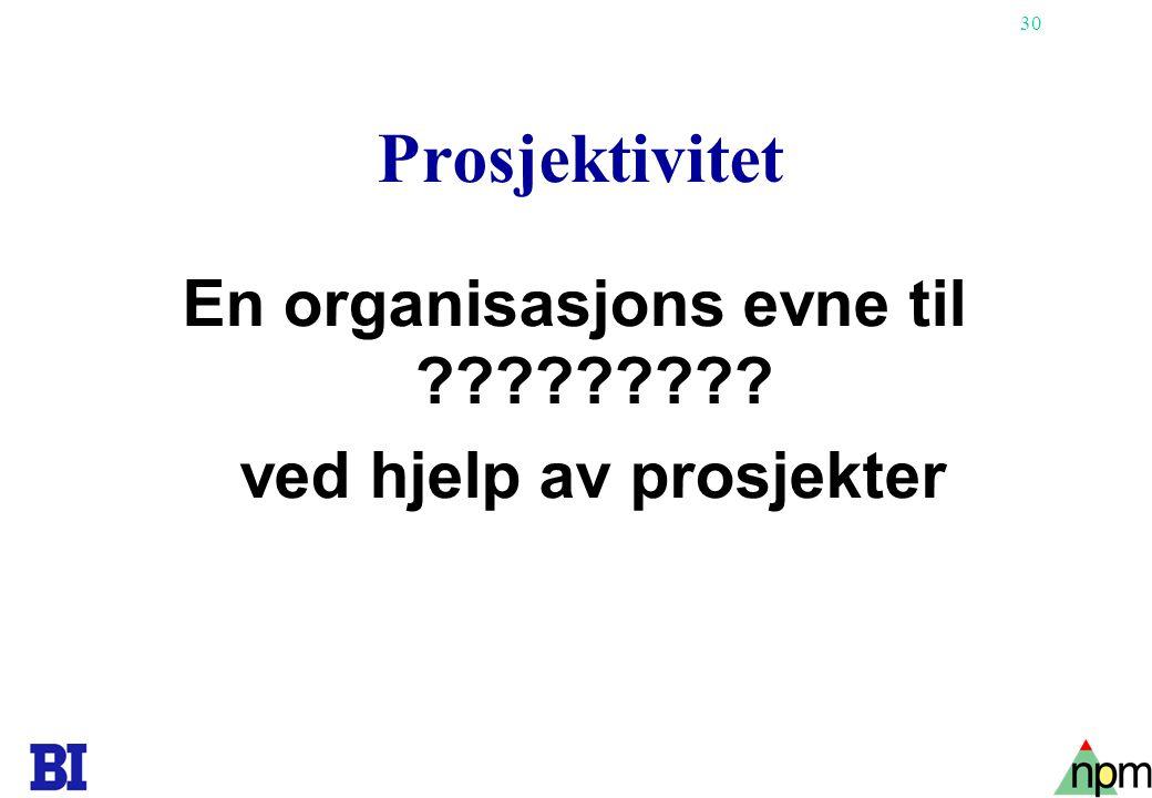 En organisasjons evne til ved hjelp av prosjekter