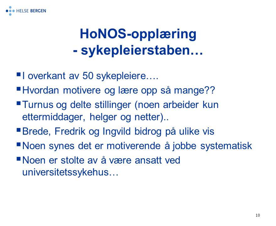 HoNOS-opplæring - sykepleierstaben…