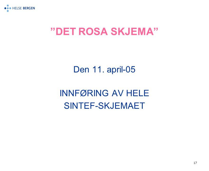 DET ROSA SKJEMA Den 11. april-05 INNFØRING AV HELE SINTEF-SKJEMAET