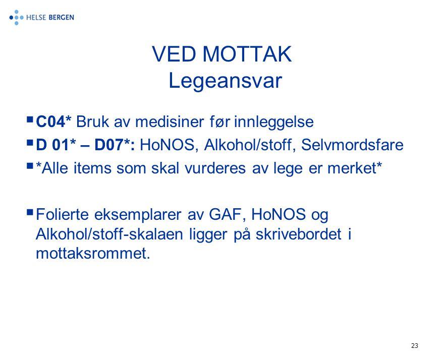 VED MOTTAK Legeansvar C04* Bruk av medisiner før innleggelse