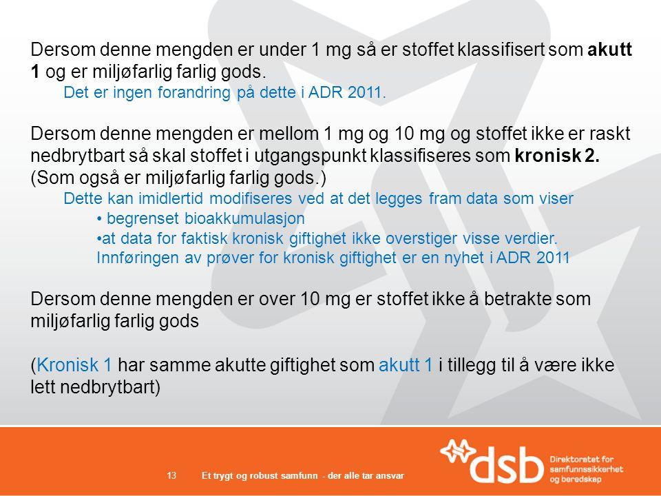 Dersom denne mengden er under 1 mg så er stoffet klassifisert som akutt 1 og er miljøfarlig farlig gods.