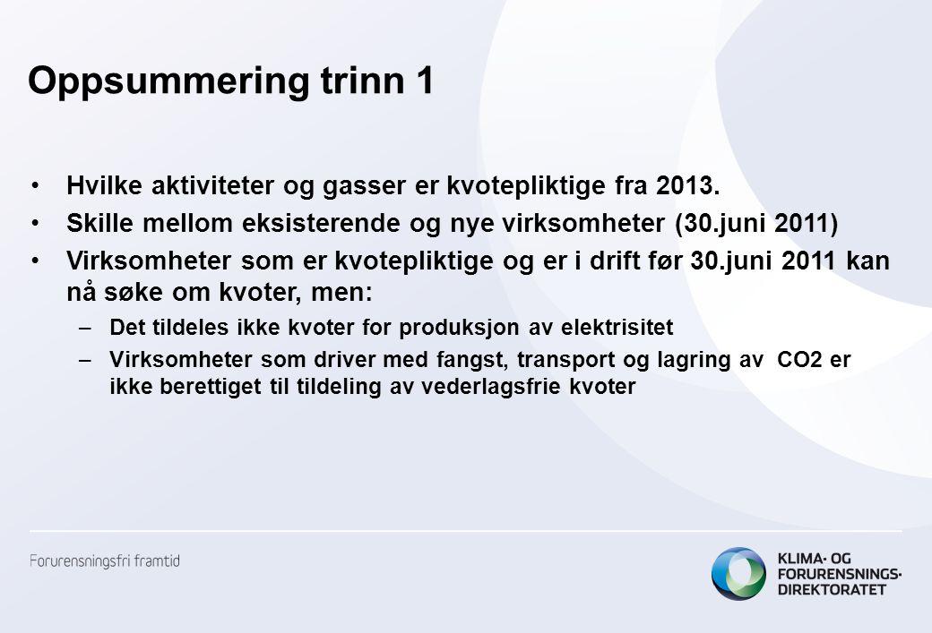 Oppsummering trinn 1 Hvilke aktiviteter og gasser er kvotepliktige fra 2013. Skille mellom eksisterende og nye virksomheter (30.juni 2011)