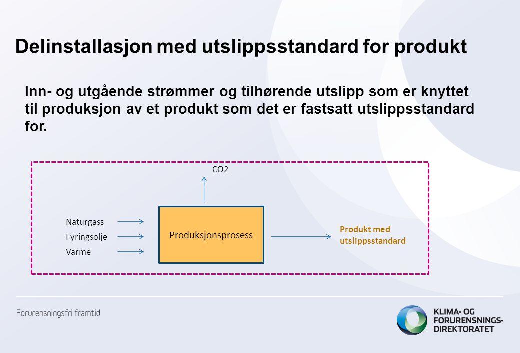 Delinstallasjon med utslippsstandard for produkt