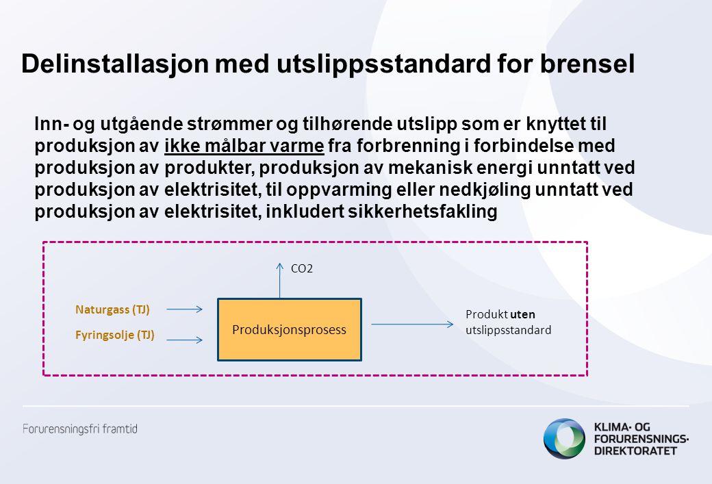 Delinstallasjon med utslippsstandard for brensel