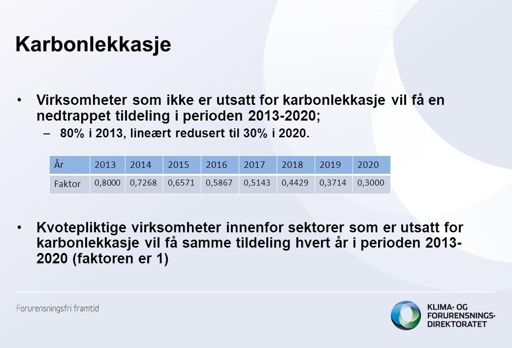 Karbonlekkasje Virksomheter som ikke er utsatt for karbonlekkasje vil få en nedtrappet tildeling i perioden 2013-2020;