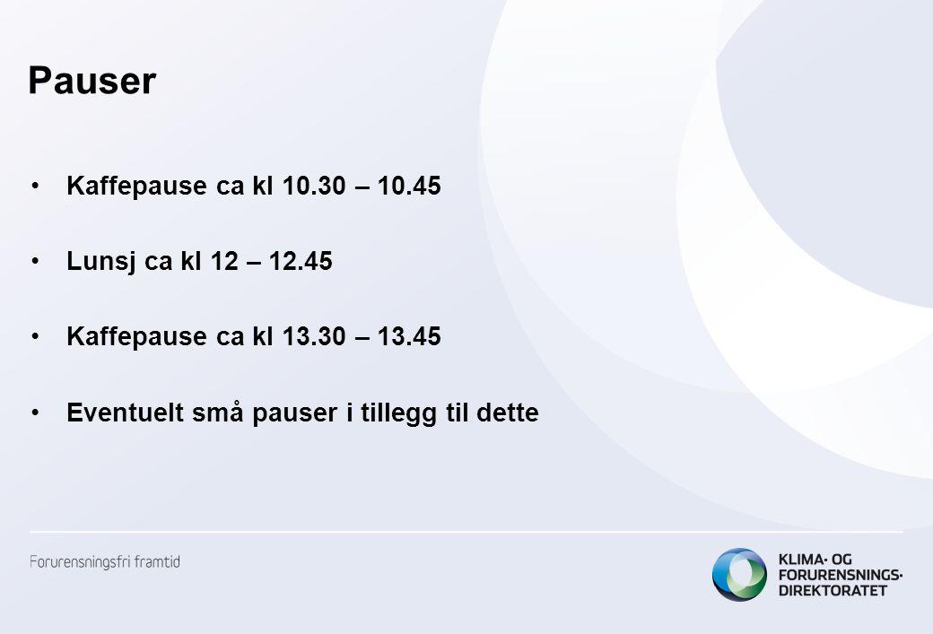 Pauser Kaffepause ca kl 10.30 – 10.45 Lunsj ca kl 12 – 12.45