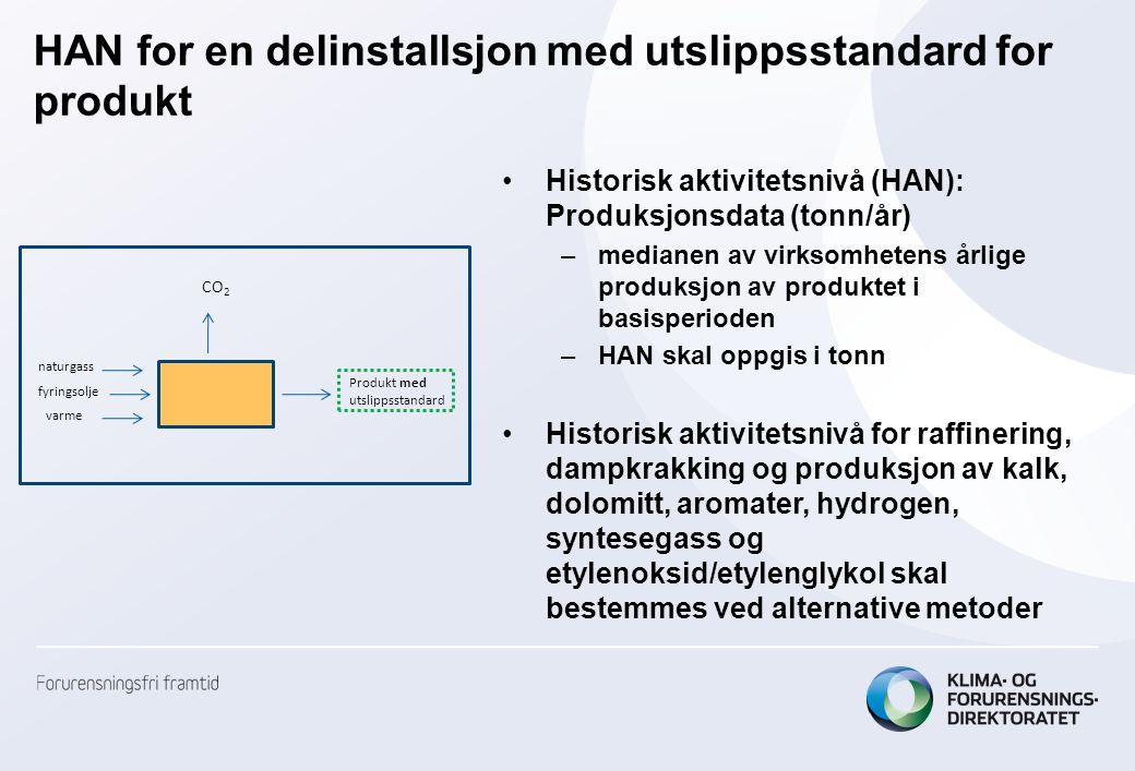 HAN for en delinstallsjon med utslippsstandard for produkt