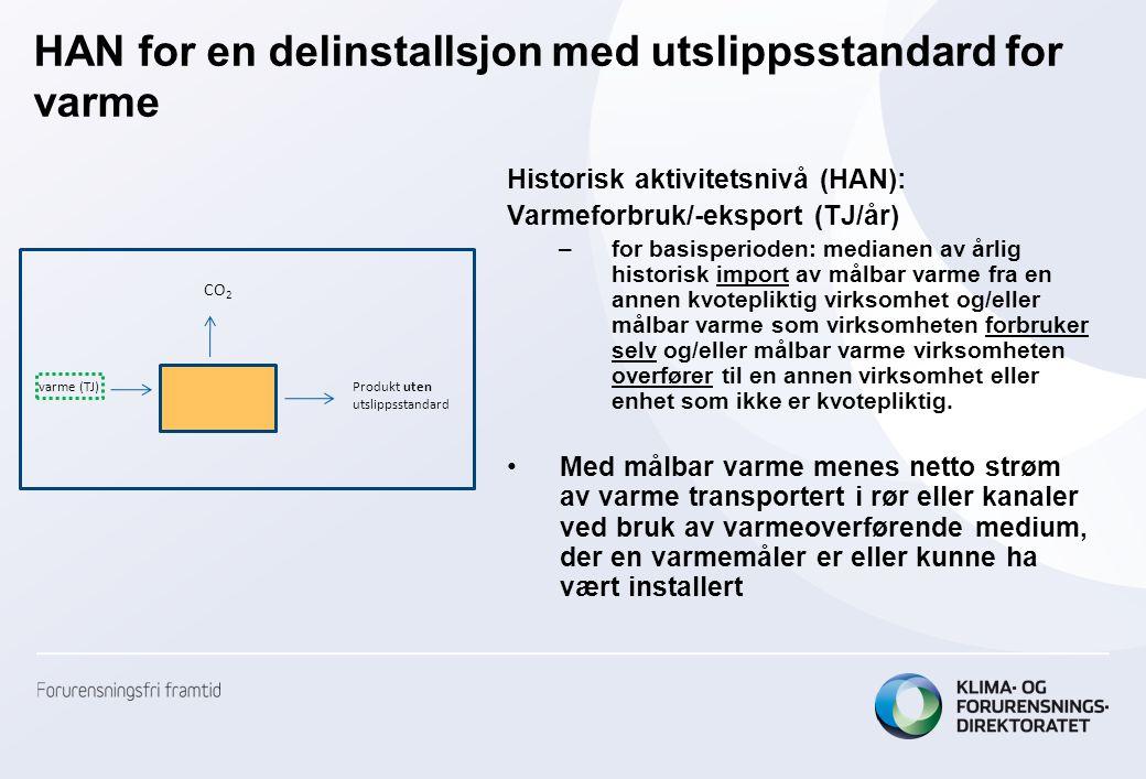 HAN for en delinstallsjon med utslippsstandard for varme