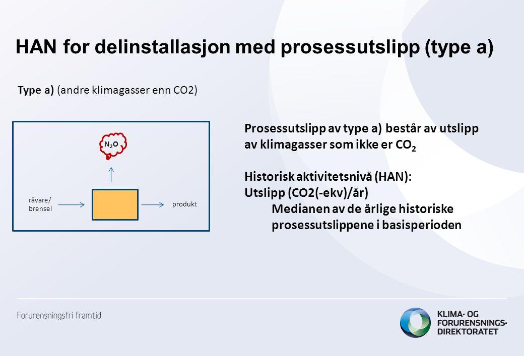 HAN for delinstallasjon med prosessutslipp (type a)