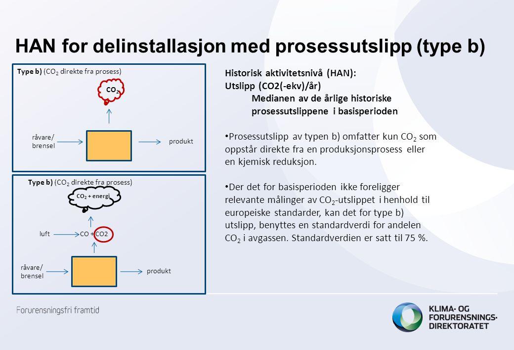 HAN for delinstallasjon med prosessutslipp (type b)