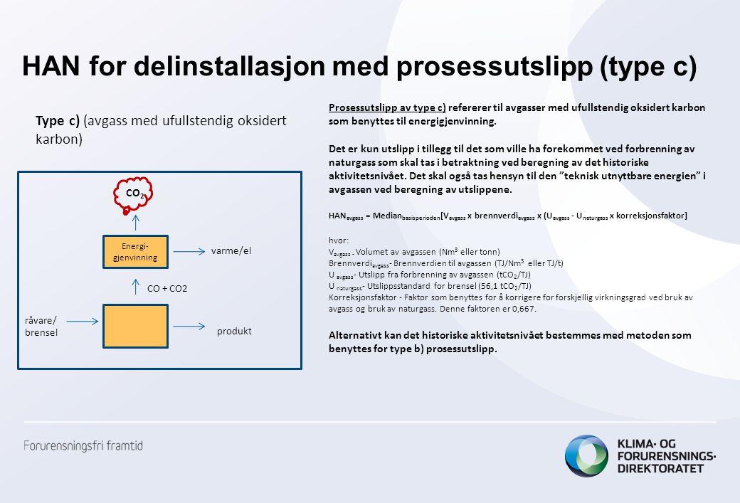 HAN for delinstallasjon med prosessutslipp (type c)