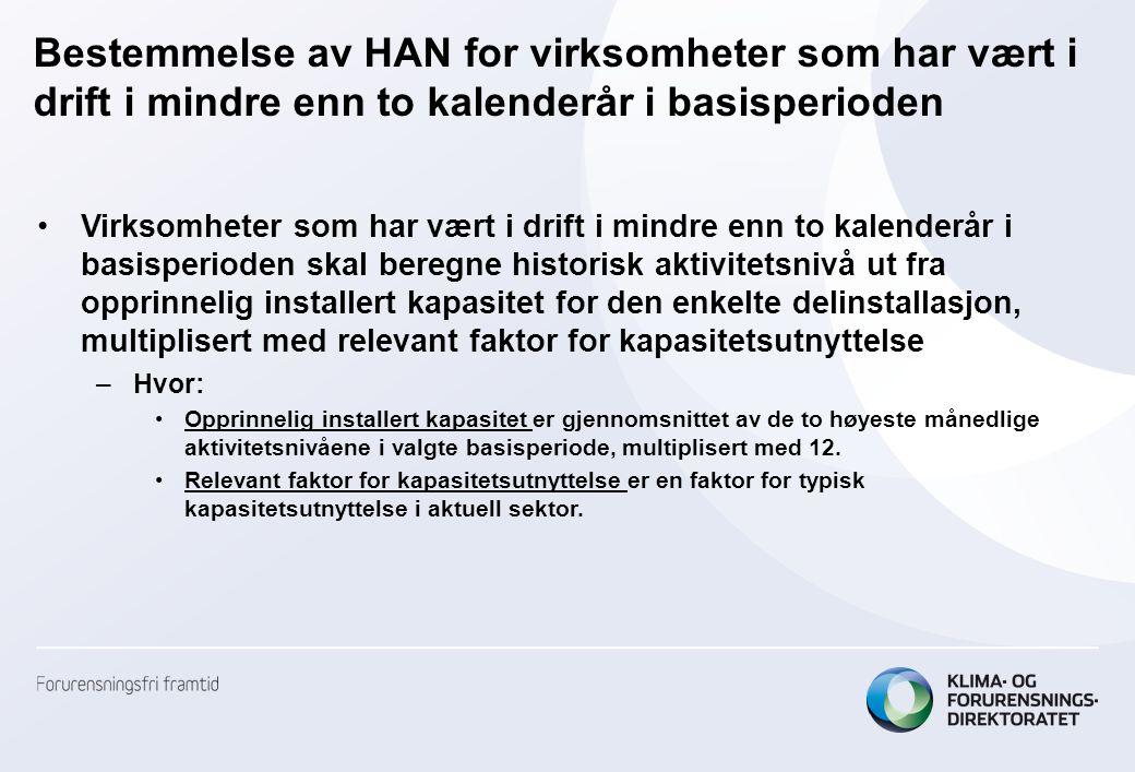 Bestemmelse av HAN for virksomheter som har vært i drift i mindre enn to kalenderår i basisperioden