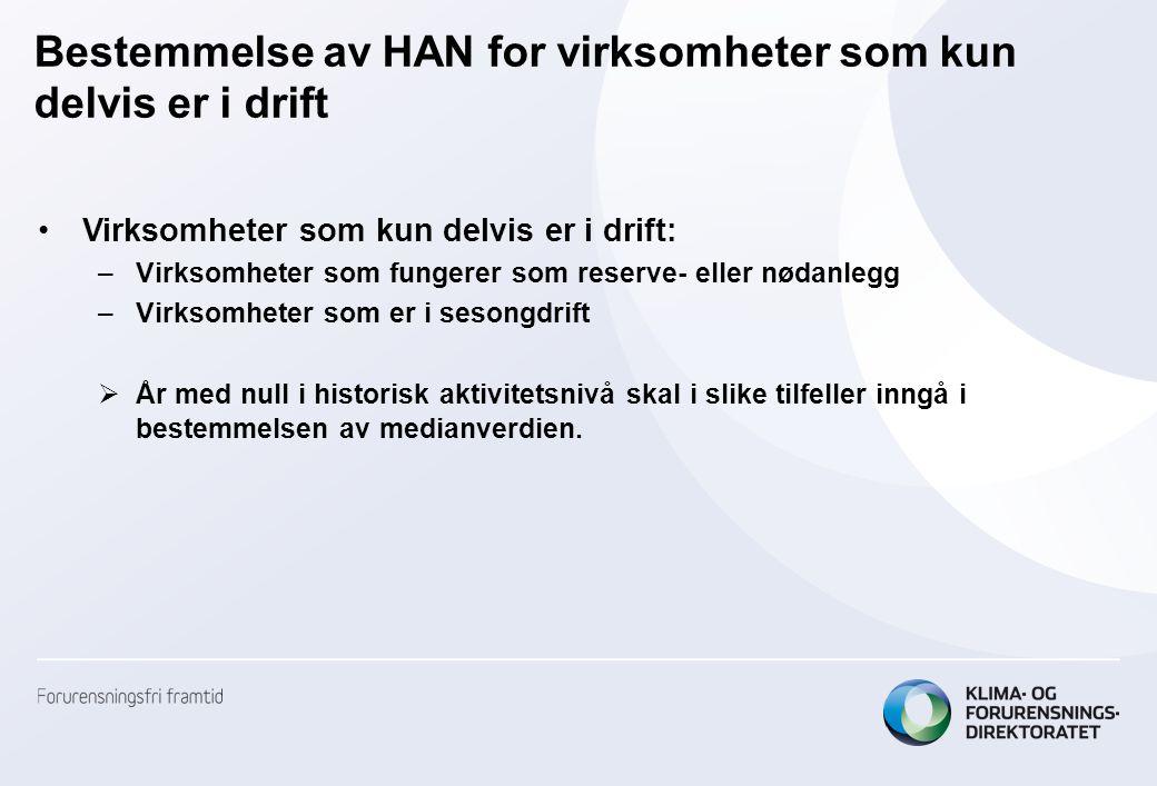 Bestemmelse av HAN for virksomheter som kun delvis er i drift