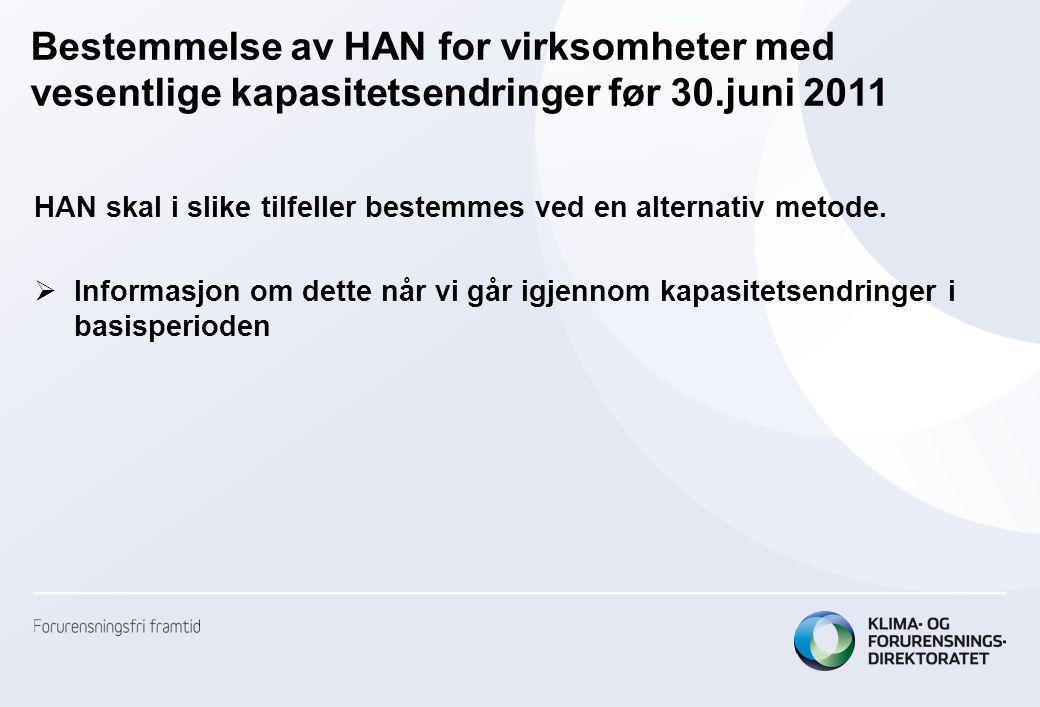 Bestemmelse av HAN for virksomheter med vesentlige kapasitetsendringer før 30.juni 2011