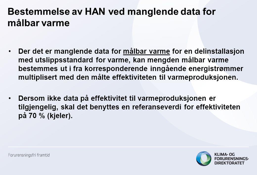 Bestemmelse av HAN ved manglende data for målbar varme