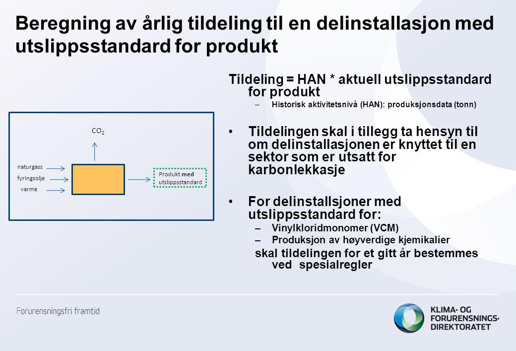 Beregning av årlig tildeling til en delinstallasjon med utslippsstandard for produkt