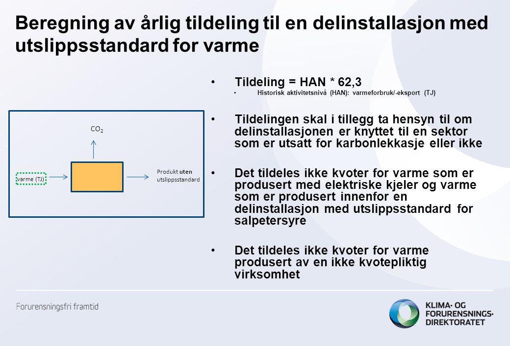 Beregning av årlig tildeling til en delinstallasjon med utslippsstandard for varme