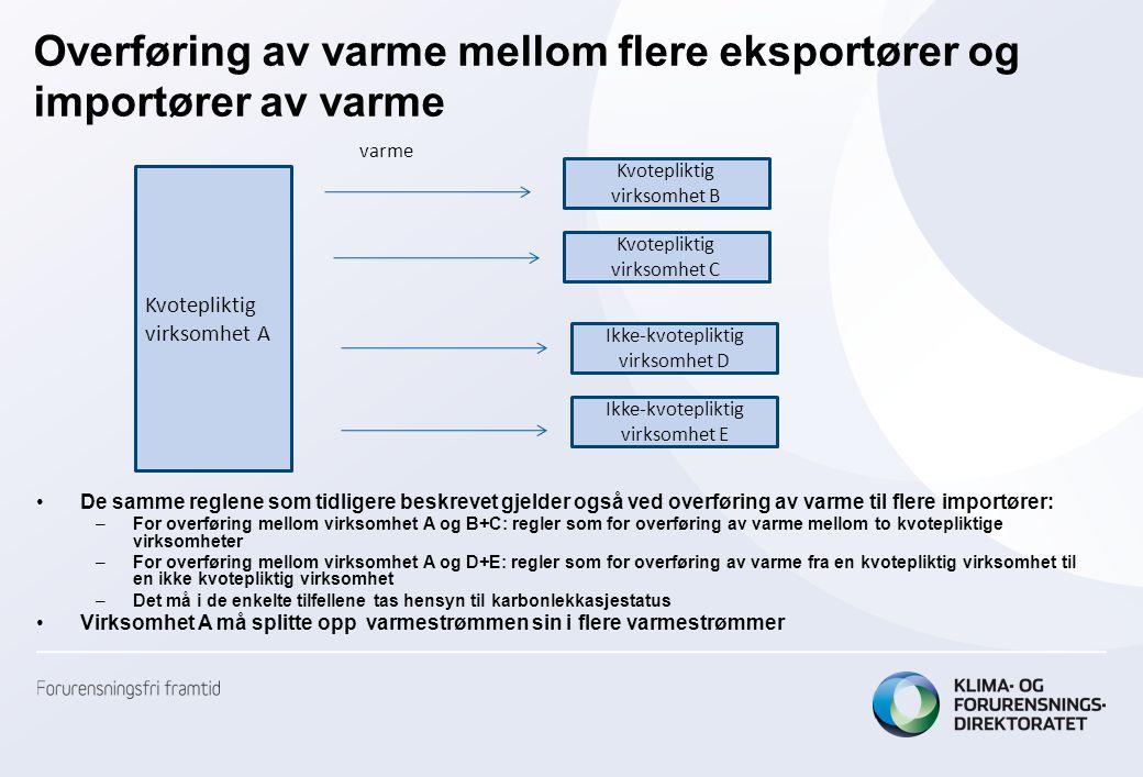 Overføring av varme mellom flere eksportører og importører av varme