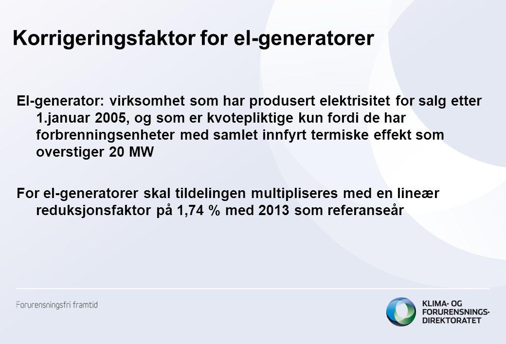 Korrigeringsfaktor for el-generatorer