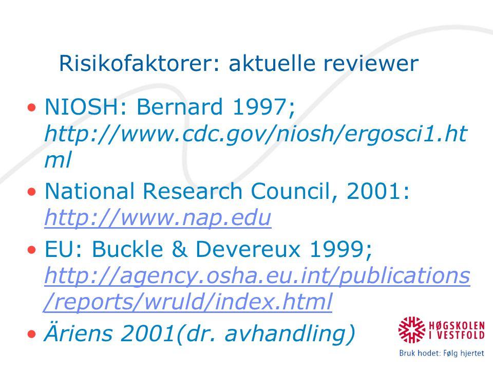 Risikofaktorer: aktuelle reviewer