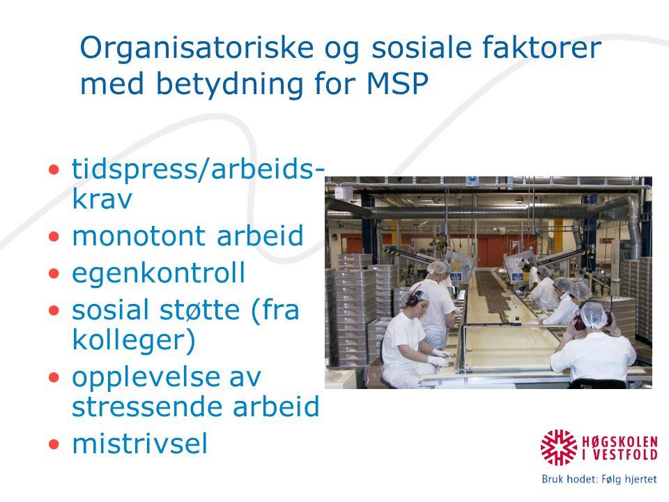 Organisatoriske og sosiale faktorer med betydning for MSP