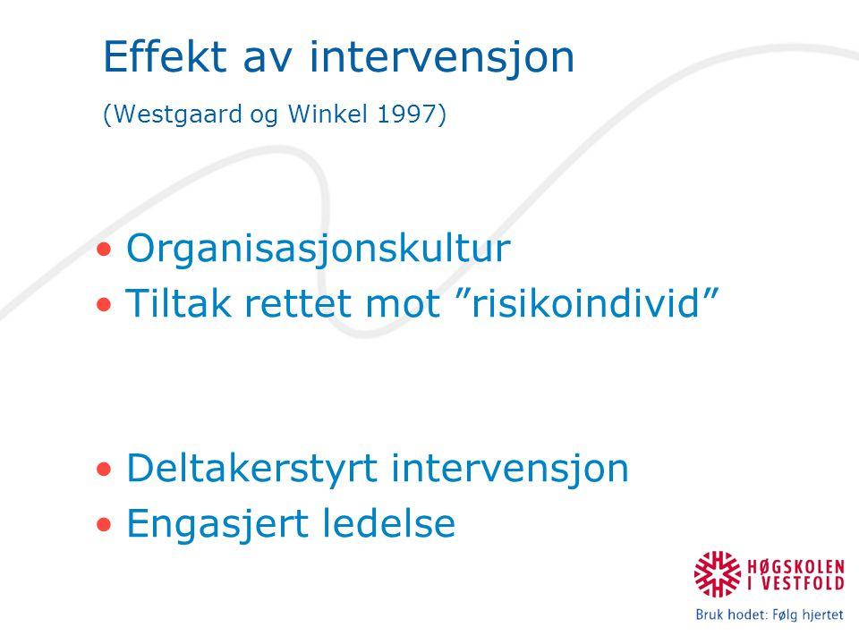 Effekt av intervensjon (Westgaard og Winkel 1997)