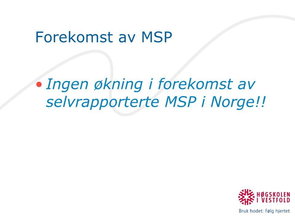 Forekomst av MSP Ingen økning i forekomst av selvrapporterte MSP i Norge!!