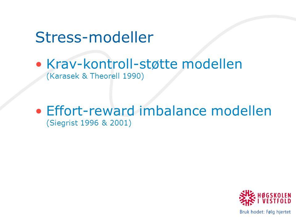 Stress-modeller Krav-kontroll-støtte modellen (Karasek & Theorell 1990) Effort-reward imbalance modellen (Siegrist 1996 & 2001)