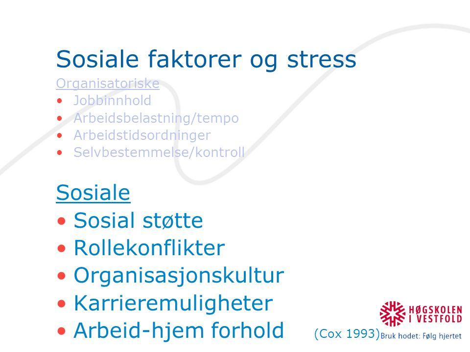 Sosiale faktorer og stress