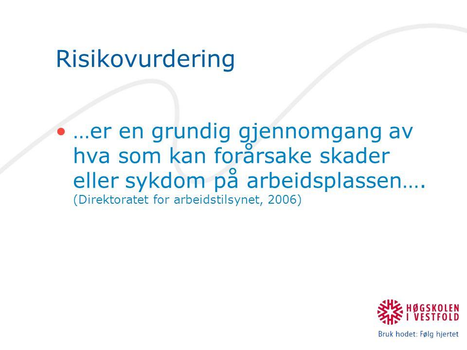 Risikovurdering …er en grundig gjennomgang av hva som kan forårsake skader eller sykdom på arbeidsplassen….